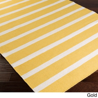 Hand-woven Chur Flatweave Striped Wool Rug (2' x 3')