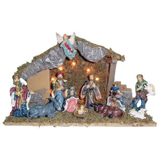 Kurt Adler 15.35-inch Lighted Wooden Stable with 11 Resin Figures Nativity Set