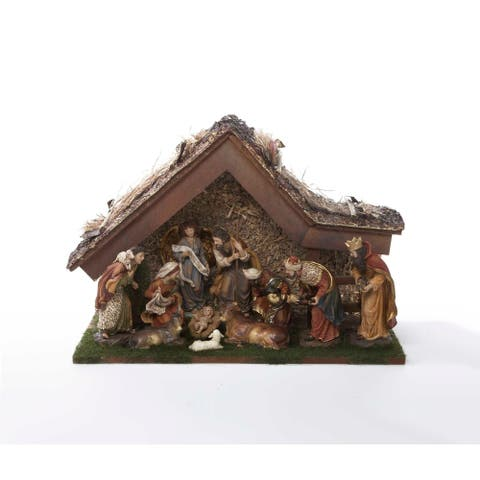 Kurt Adler 12-Inch Nativity Set with Stable and 10 Figures