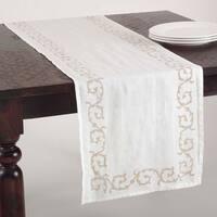 Swirl Design Linen Blend Stone Washed Runner