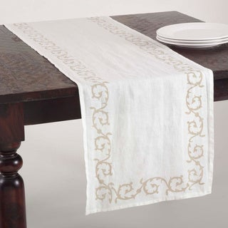 Swirl Design Linen Blend Stone Washed Runner