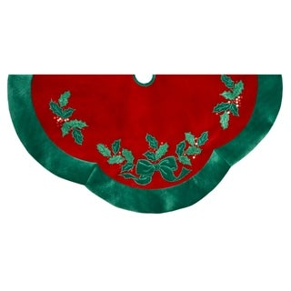 Kurt Adler 48-inch Velvet Red with Green Leaves Applique Treeskirt