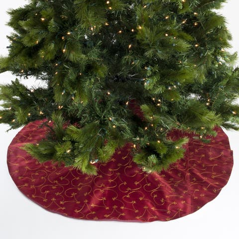 Christmas Tree Skirt With Ari Embroidered Design