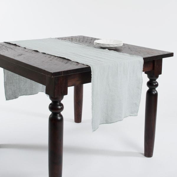 Fringed Linen Design Stone Washed Runner