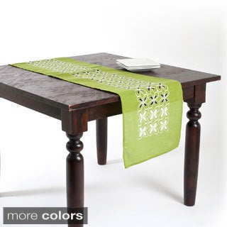Embroidered and Cutwork Flower Design Table Runner