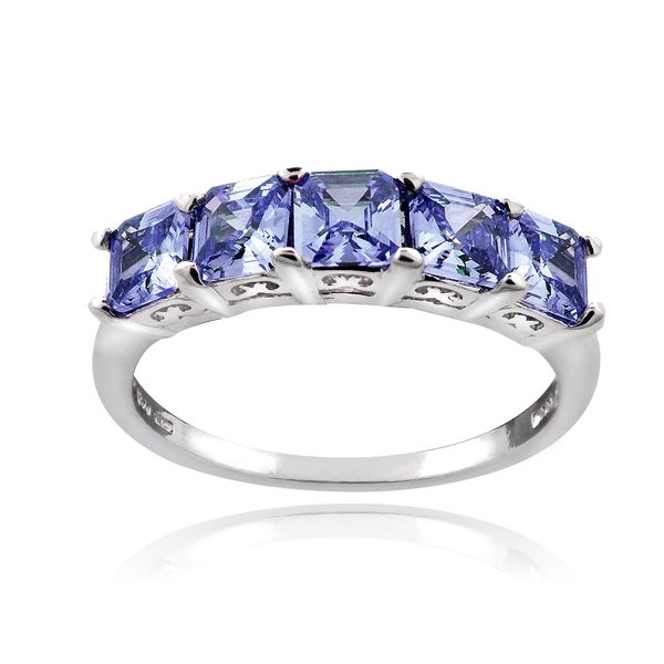 Icz Stonez Sterling Silver 2ct TGW Violet Blue Cubic Zirconia Square Five Stone Ring