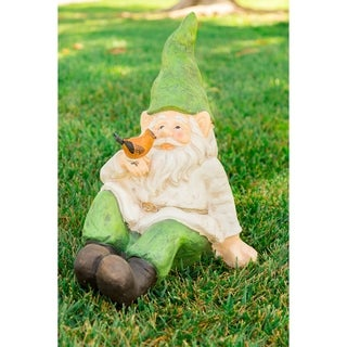 Gnome Laying Down with Bird Statue