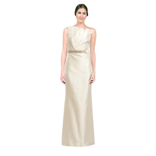 Carmen Marc Valvo Women's Ivory One-shoulder Gown (Size 8)