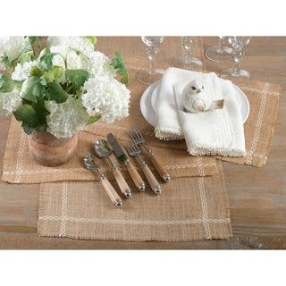Pick-Stitched Design Jute Table Runner (set of 1) or Placemats (set of 4) (3 options available)