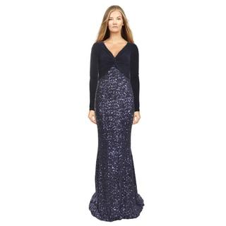 Badgley Mischka Women's Blue Ruched Sequin Evening Dress (Size 2)