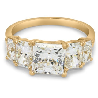 Gioelli 10k Yellow Gold Cubic Zirconia Engagement Ring