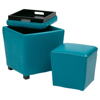 Porch & Den Over-the-Rhine Klotter 2-piece Vinyl Ottoman Set (More options available)