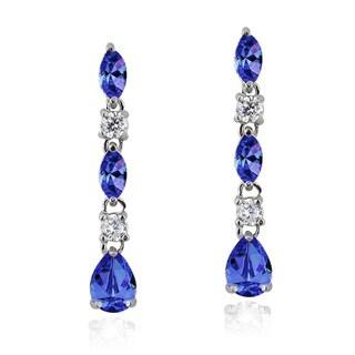 Icz Stonez Sterling Silver 2 4/5ct TGW Purple and Clear Cubic Zirconia Dangle Earrings