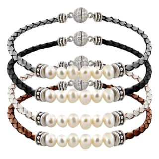 Glitzy Rocks Silvertone Pearl And Leather Bracelet|https://ak1.ostkcdn.com/images/products/9512714/P16691391.jpg?impolicy=medium
