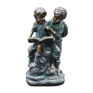 Alpine Corporation Girl and Boy Reading Together Statue