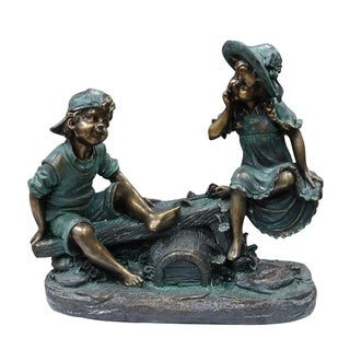 Alpine Corporation Girl and Boy Playing on Teeter Totter Statue