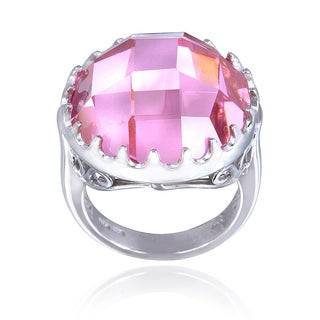 Icz Stonez Sterling Silver 19 3/4ct TGW Light Pink Cubic Zirconia Briolette Ring