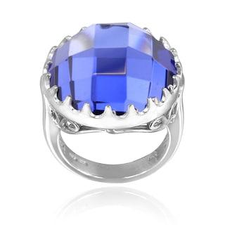 Icz Stonez Sterling Silver 19 3/4ct TGW Purple Cubic Zirconia Briolette Ring