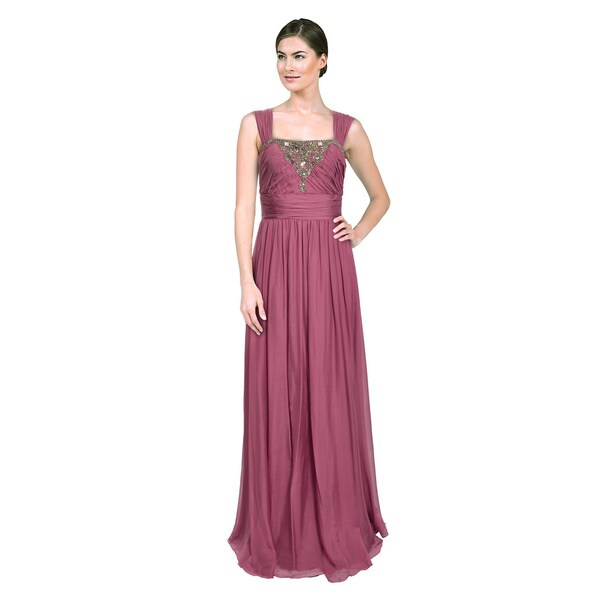 Shop Badgley Mischka Women\'s Beaded Silk Orchid Formal Evening Dress ...