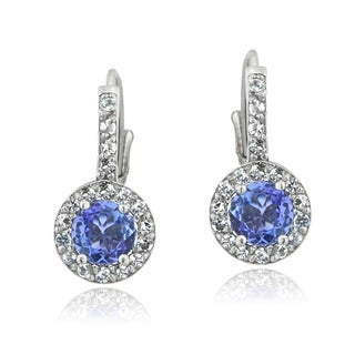 Glitzy Rocks Sterling Silver Tanzanite and White Topaz Earrings