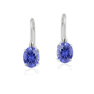 Glitzy Rocks Sterling Silver Tanzanite Leverback Earrings