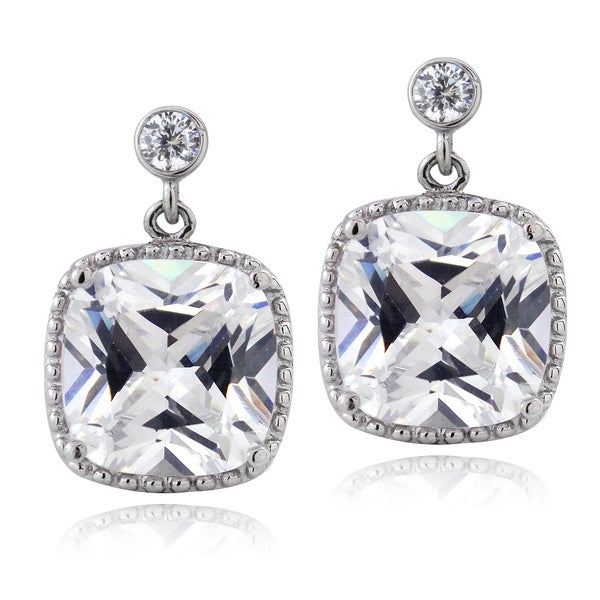 Icz Stonez Sterling Silver 11 2/5ct TGW Cubic Zirconia Square Dangle Earrings