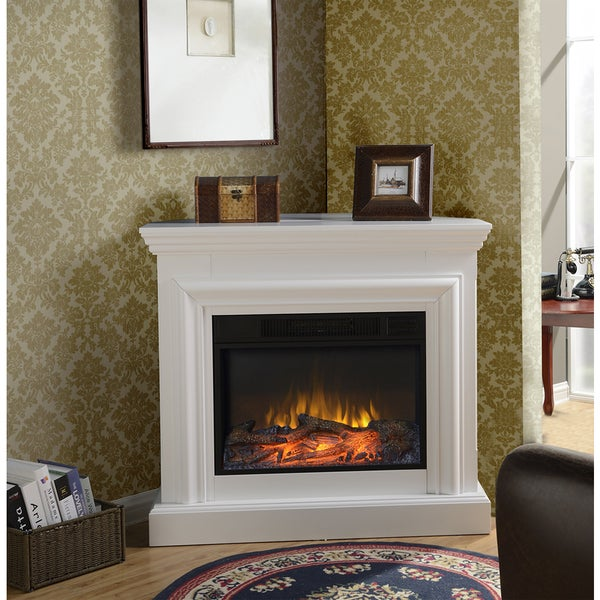 Wide Electric Fireplace Mantel in White - Wide Electric Fireplace Mantel In White - Free Shipping Today