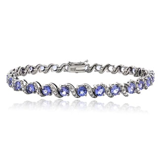 Glitzy Rocks Sterling Silver Tanzanite And Diamond Accent 'S' Bracelet