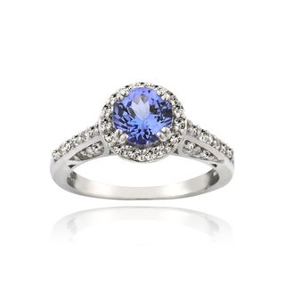 Glitzy Rocks Sterling Silver Tanzanite and White Topaz Ring