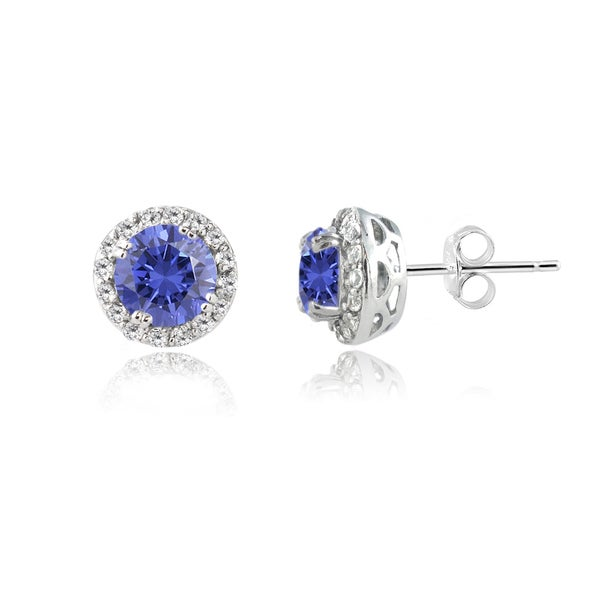Glitzy Rocks Sterling Silver Tanzanite and White Topaz Stud Earrings