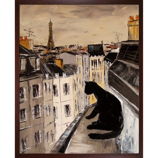 Atelier De Jiel 'Black Cat on Roofs of Paris' Framed Fine Art Print
