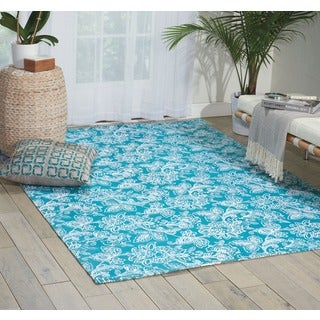 Waverly Art House Belinda Teal Area Rug by Nourison (5' x 7')