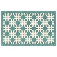 Waverly Art House Groovy Grille Teal Area Rug by Nourison (2'3 x 3'9) - 2'3 x 3'9