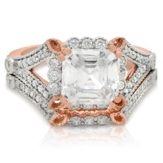 Gioelli 10k Rose Gold Cubic Zirconia Bridal Set Ring