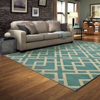 Geometric Diamond Motif Rug - 5'3 x 7'3
