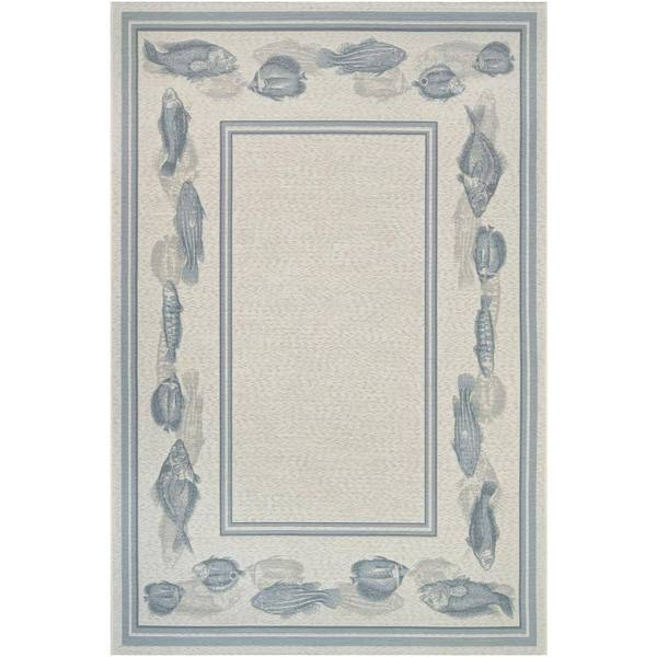Couristan Dolce Corvina Ivory-Light Blue Indoor/Outdoor Rug - 8'1 x 11'2
