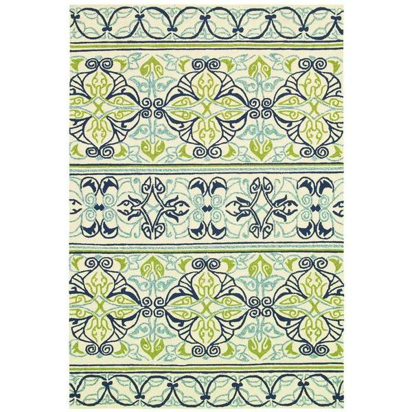 Couristan Covington Pegasus Ivory- Navy- Lime Indoor/Outdoor Rug - 8' x 11'