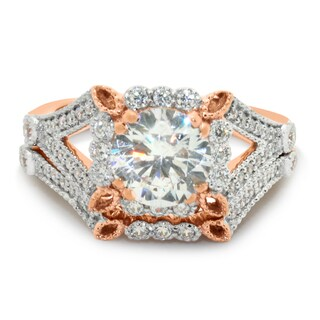 Gioelli 10k Rose Gold Round-cut Cubic Zirconia Bridal Ring Set