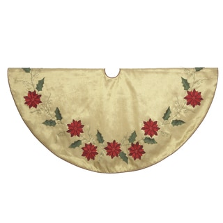 Kurt Adler 48-inch Gold Treeskirt with Poinsettia Design