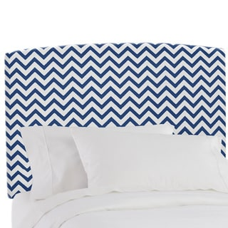 Skyline Furniture Upholstered Headboard in Zig Zag Navy White