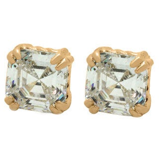 Gioelli 14k Yellow Gold 6mm Square Cut Cubic Zirconia Stud Earrings