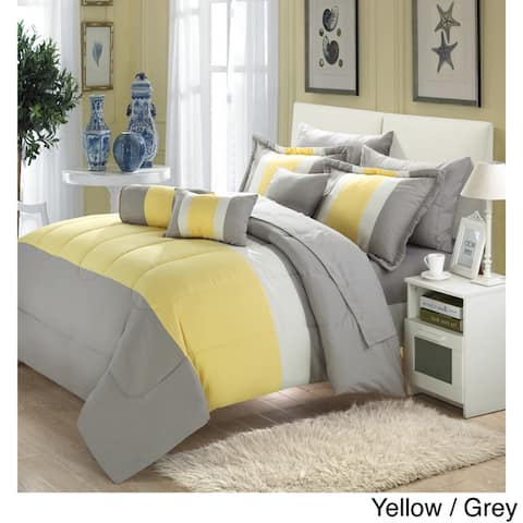Chic Home Serenity Colorblock Microfiber 10-piece Comforter S