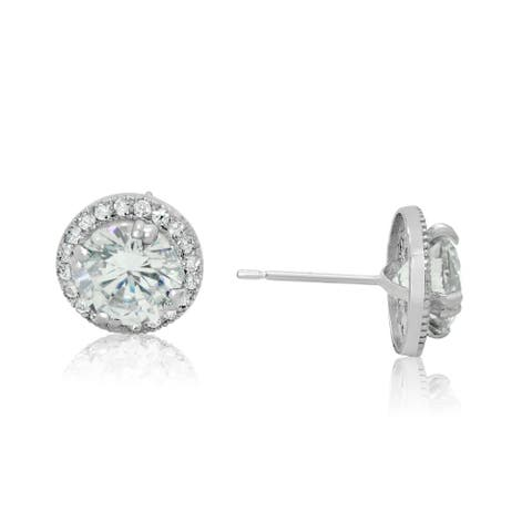 Gioelli 14k White Gold Round Halo Cubic Zirconia Stud Earrings