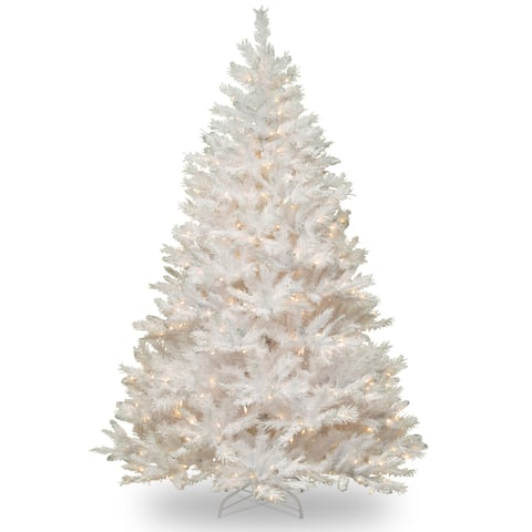 7-foot Winchester White Pine Tree with Silver Glitter and Clear Lights - 7'