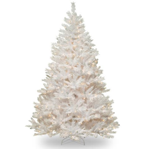 7-foot Winchester White Pine Hinged Tree with Silver Glitter and 450 Clear Lights