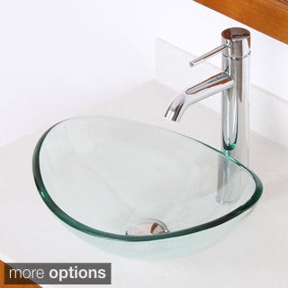 Elite 1418+F371023 Oval Tempered Glass Bathroom Vessel Sink