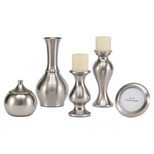 Rishona Brushed Silver Accessory Set - 5 Piece