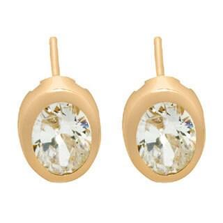 Gioelli 14k Gold Oval-cut Backset Bezel Cubic Zirconia Stud Earrings