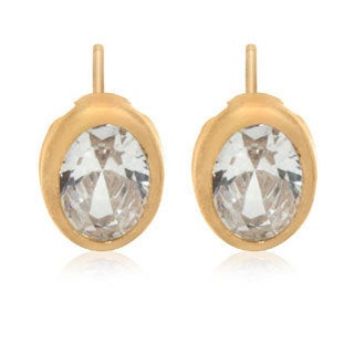 Gioelli 14k Gold 9x7 Oval Backset Bezel Cubic Zirconia Stud Earrings
