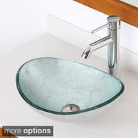 Elite 1412+F371023 Oval Artistic Silver Tempered Glass Bathroom Vessel Sink with Faucet